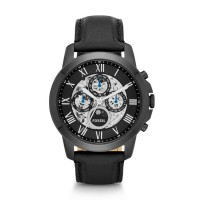 JAM TANGAN FOSSIL ME-3028 GRANT AUTOMATIC BLACK LEATHER