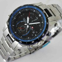 Swiss Army EQW-A1200 BLUE BLACK SILVER Steel Chain
