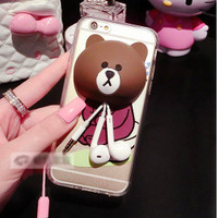 harga Case Casing Iphone 6 Plus/6S+ Line Brown phone stand tempat earphone Tokopedia.com