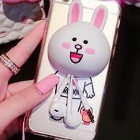 harga Case Casing Iphone 6/6C/6S Line Conny plus phone stand tempat earphone Tokopedia.com