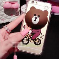 harga Case Casing Iphone 6/6S Line Brown plus phone stand tempat earphone Tokopedia.com