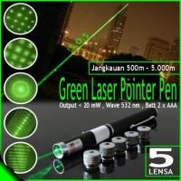 Green laser hijau pointer presentasi 5 mata lensa motif pattern kado