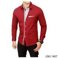 harga Kemeja Slimfit Model Korea Warna Merah Marun  Lng 1407 Tokopedia.com
