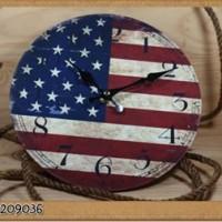 Wall Clock Wooden America / Jam Dinding Bendera Amerika Vintage 22cm