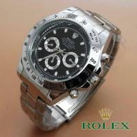 Jam Tangan Rolex Daytona Silver Plat Black Kw Super