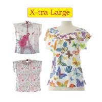 [SIZE XL] Harga Grosir - Kaos Wanita Korea Loose Tee Spandex Printed
