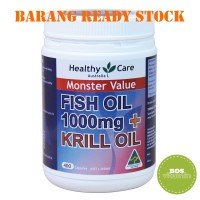 READY STOCK - Healthy Care Fish Oil 1000mg + Krill Oil 400 capsules
