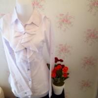 Jual kemeja blus putih wanita kantor renda neci kerah Murah