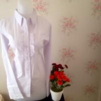 kemeja blus putih wanita kantor polos renda
