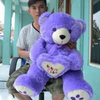 harga Boneka Teddy Bear I Love You Ungu Besar 80 Cm Tokopedia.com