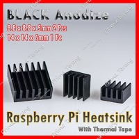3 pcs Heatsink Raspberry Pi Black Anodize Heat Sink