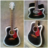 gitar akustik Jumbo Black Super Exclusive Super Mantap