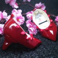baby heels prewalker shoes valentino glossy red ( gh008 )