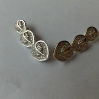 Anting tusuk silver murni import berlapis emas putih