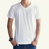 Kaos T-Shirt 30s Lengan Pendek V-Neck Unisex Polos - Putih
