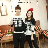 Baju Couple Keren | Lengan Panjang Couple Simple | America23 Kombi