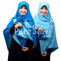 Jilbab syari segi empat Bolak Balik biru turkis-biru langit