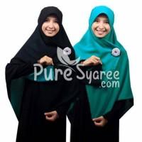 Jilbab syari segi empat Bolak Balik hitam-tosca