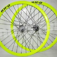 PROMO 1set Wheelset Rh+O Hub Rh+O 32H Green/Black