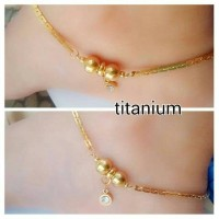 gelang kaki titanium bandul bulat