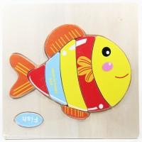 Puzzle Jigsaw Kayu 3D Mainan Edukasi Anak Balita Ikan PK-045