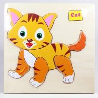 harga Puzzle Jigsaw Kayu 3d Mainan Edukasi Anak Balita Kucing Pk-082 Tokopedia.com