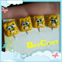 tuspin cartoon spongebob hijab handmade clay pin jilbab