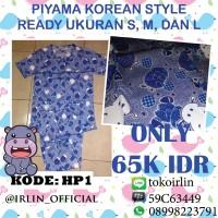 harga Baju Tidur Piyama Korea Nil Biru Blue Lucu Korean Style Tokopedia.com