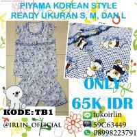 harga Baju Tidur Piyama Korea Teddy Bear Biru Blue Lucu Korean Style Tokopedia.com