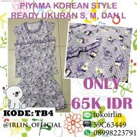 Baju Tidur Piyama Korea Teddy Bear Ungu Purple Lucu Korean Style