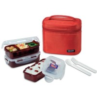 Lock N Lock HPL754DR Lunch Box 3P SET W/Red Bag