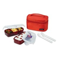 Lock N Lock HPL752DR Lunch Box 2P SET W/Red Bag