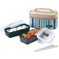 Lock N Lock HPL752SB Lunch Box Set 2 Pcs w/ Blue Lunch Bag