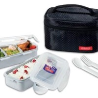 Lock N Lock HPL752DB Lunch Box 2P SET W/Black Bag