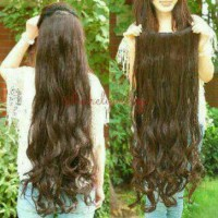 Hair Clip Curly 75cm Long Rambut Palsu Panjang Wig Extension Hitam