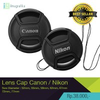 Tutup Lensa / Lens Cap DLSR Canon 52mm, 58 mm, 62mm, 67mm, 72mm, 77mm