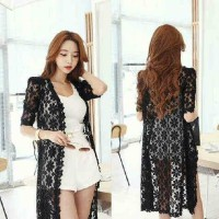 Set Lace Evelyn White 3in1 @50 Bhn Blus+cln Spdk Cardi Lace