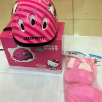 Helm Sepeda Untuk Anak Gambat Hello Kitty, Sudah Sama Set Pelindungnya