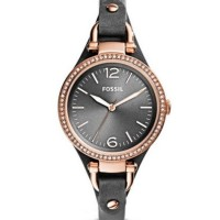 FOSSIL RILEY MULTIFUNCTION STAINLESS STEEL AND LEATHER WATCH - BLACK