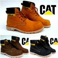 cat caterpillar boot safety kulit asli