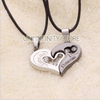 JWNE0027 Kalung Couple I Love You Hati Pria Wanita (Heart Necklace)