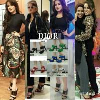 Sepatu Sandal Wedges High heels DIOR Black