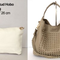 TAS BRANDED FASHION STUD HOBO BAG IN BAG WHITE   KHAKI 05787f6a48
