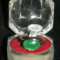 Cincin Batu Akik HIJAU LUMUT Oval size 19 Untuk Pria Wanita Muda