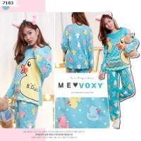 Baju Tidur Setelan Panjang - Piyama Sleepwear Lucu -  Kity Blue Mint