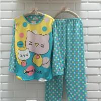 Baju Tidur Setelan Lengan Panjang - Piyama Sleepwear Lucu - Kitty Blue
