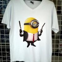 Jual kaos minion and gun vneck tshirt distro custom clothing tees Murah