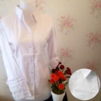 kemeja blus putih wanita kantor omiset kantong 1 / saku 1