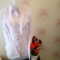 kemeja blus wanita putih kantor renda samping
