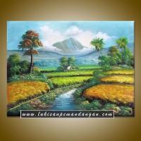 LP069 - Lukisan Pemandangan Sawah dan Gunung